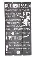 Wandschild Plankenschild Küchenregeln 60x30cm Grau Esszimmerregeln Vintage Motiv