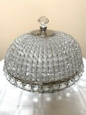 Antique French Crystal Beaded Shade Basket Chandelier Shade Flush Mount 15""