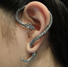 Women Fashion Jewelry Gothic Snake Temptation Punk Silver Ear Cuff Stud Earrings
