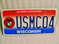 Major USMCO4 Wisconsin License Plate Retired Marine Corps Veteran Military