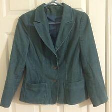 Top Shop Blue Corduroy Fitted Blazer Jacket Size 12/Euro 40 - EUC