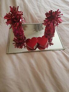 Double heart metallic RED Balloon Weight & 2 FOIL weights