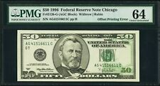 1996 $50 Dollar Bill Federal Reserve Note Partial Offset Printing Error Pmg 64