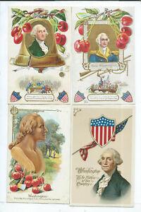 Lot of 4 George Washington Postcards Patriotic Political