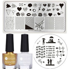 4 Pcs Nail Stamping Polish Stamp Plates Rose Heart Couple Kiss Image Stencil Kit