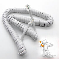 2m Telephone Handset Phone Coiled RJ10 Plug to RJ10 Plug Cable White 4P4c Lead