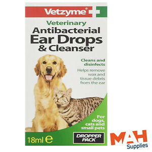 Vetzyme Antibacterial Ear Drops & Cleanser 18ml Cats and Dogs Small Animals