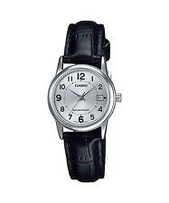 Casio Women's Black Leather Strap Watch, Silvertone Dial, Date, LTP-V002L-7B