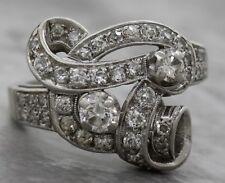 Ladies Antique 1920s Estate Platinum Cluster 1.23ctw Diamond Band Bow Ring