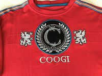COOGI Men's Short Sleeve Coogi Crest Logo Embroidered T Shirt Red Size XL