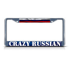 CRAZY RUSSIAN, RUSSIAN WAVY FLAG Metal License Plate Frame Tag Border Two Holes