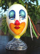 """Ceramic Self Standing Face Mask Glazed 6"""" Mexico Day of The Dead Art Clown Tears"""