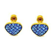 Heart crystal blue Stainless Steel Earrings Toddler Girls safety screw back
