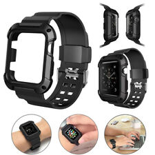 42mm Protective Case Cover Strap Band Black for Apple Watch iWatch Series 3 2 1