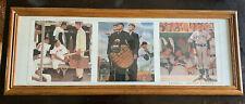 Vintage Norman Rockwell Baseball Collectible Framed 3 Baseball Art Prints-Rare