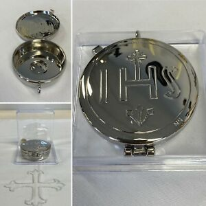 Silver Plated Pyx Box. Engraved IHS. 5.3cm Diameter, 2cm Height
