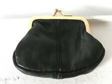 Small Black Real Leather Coin Purse Change Work Frame Clasp