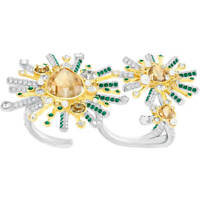 NIB $349 Swarovski Highness Double Ring Cocktail Statement Size 58+60 #5373889