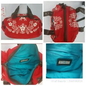 Billabong Mini Travel Duffel Red Floral Inner Outer Pockets Adjustable Straps