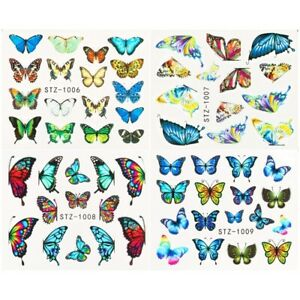 4pcs/Set Nail Art Decor Butterfly Stickers Water Decals Holographic Blue Flowers