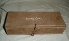 Genuine PANDORA 3-Tier or Tray Suede Charm & Jewelry Storage Box Case Tan Beige