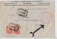 SPAIN 1937 CIVIL WAR CENSORED COVER FROM BILBAO TO SEVILLA