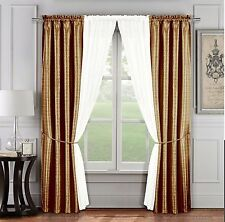 6 Pc. Jacquard Window Curtain Set: Gold & Ivory, 2 Panels, 2 Sheers, 2 Tie Back