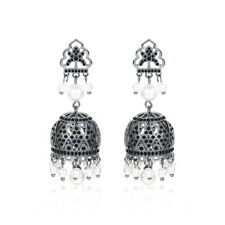 Exquisite 3D Flower Pearl Top Quality Crystal Earrings Black Gold 2 Colours