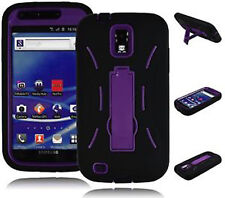T-Mobile Samsung Galaxy S II 2 T989 Impact Rubber Case Kickstand Black Purple
