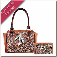 MW212G-8250 Montana West Scroll Horse Concealed Carry Handbag/Purse & Wallet Set