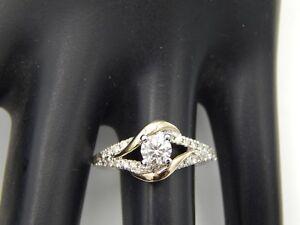 Designer Angel Sanchez Diamond Engagement Ring 1.27 tcw H/SI 14k White 2 tone