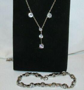 925 Sterling Silver Zirconia PAST PRESENT FUTURE Necklace Earrings Bracelet SET