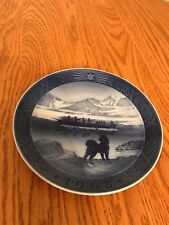"Royal Copenhagen 1968 Christmas Collector Plate ""The Last Umiak "" Blue Denmark"