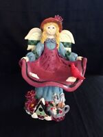 "Vintage 7"" Resin Joyful Garden Angel Figurine Apron Bird Bath"