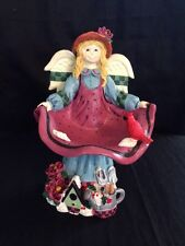 "7"" Resin Joyful Garden Angel Figurine Apron Bird Bath"