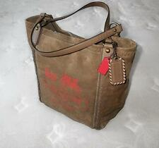 NEW COACH Limited Ed PUTTY POPPY HORSE & CARRIAGE LG SUEDE TOTE BAG PURSE RARE!