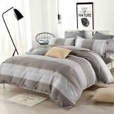 3 Piece Ultra Soft Down Quilt Cover Bedding Cover Sets, Striped Gray,  King Size