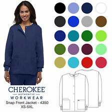 Cherokee Workwear Women's 4350 Snap Front Warm-Up Scrub Jacket-New-Free Ship