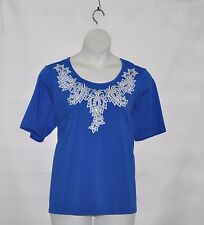 Bob Mackie Bateau Neck Paisley Sequin Short Sleeve Knit Top Size S Royal Blue