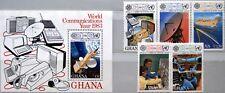 GHANA 1983 983-87 Block 101 835-840 World Communication Year Kommunikation MNH