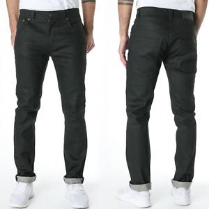 Factory Seconds Nudie Mens Slim Fit Raw Denim Jeans Thin Finn Dry Black Coated