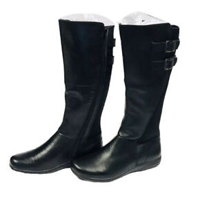 Planet Shoes SPRITE ~ Women's Size 9 ~ Black Leather Long Tall Zipper Boots ~ BN