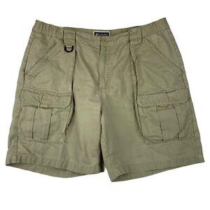 "Columbia Cargo Fishing Shorts Khaki Mens L (38"") Pockets Elastic Waist Utility"