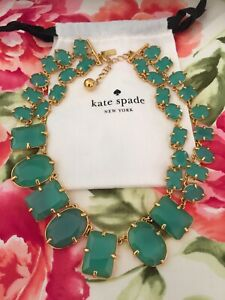STUNNING Kate Spade COATED CONFETTI GIVERNY GREEN STATEMENT COLLAR NECKLACE