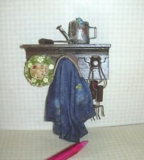 Miniature Hanging Gardener's Items, Denim #2: DOLLHOUSE Miniatures 1:12 Scale
