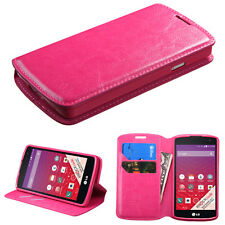 LG OPTIMUS F60 TRIBUTE TRANSPYRE FOLIO CASE POUCH W/STAND COVER LS660 MS359 PINK