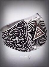 ALL SEEING EYE ILLUMINATI MASONIC FREIMAURER Freemasonry Ezi Zino sterling ring