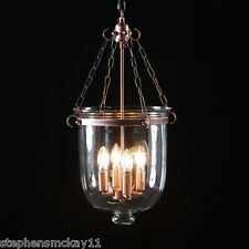 Large Antique Copper and Glass Hundi / Bell Jar Chandelier