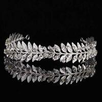 Gold Crystal Rhinestones Flower Leaf Wedding Tiara Headband Bridal Crown Brides