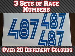 3 x 150mm Custom Race Numbers Vinyl Sticker Decals Trials Dirt Bike N1